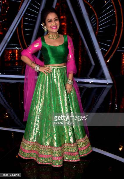 Indian playback singer Neha Kakkar seen at the show The Indian Idol show promoting Shraddha Kapoors upcoming film 'Batti Gul Meter Chalu' at YRF...