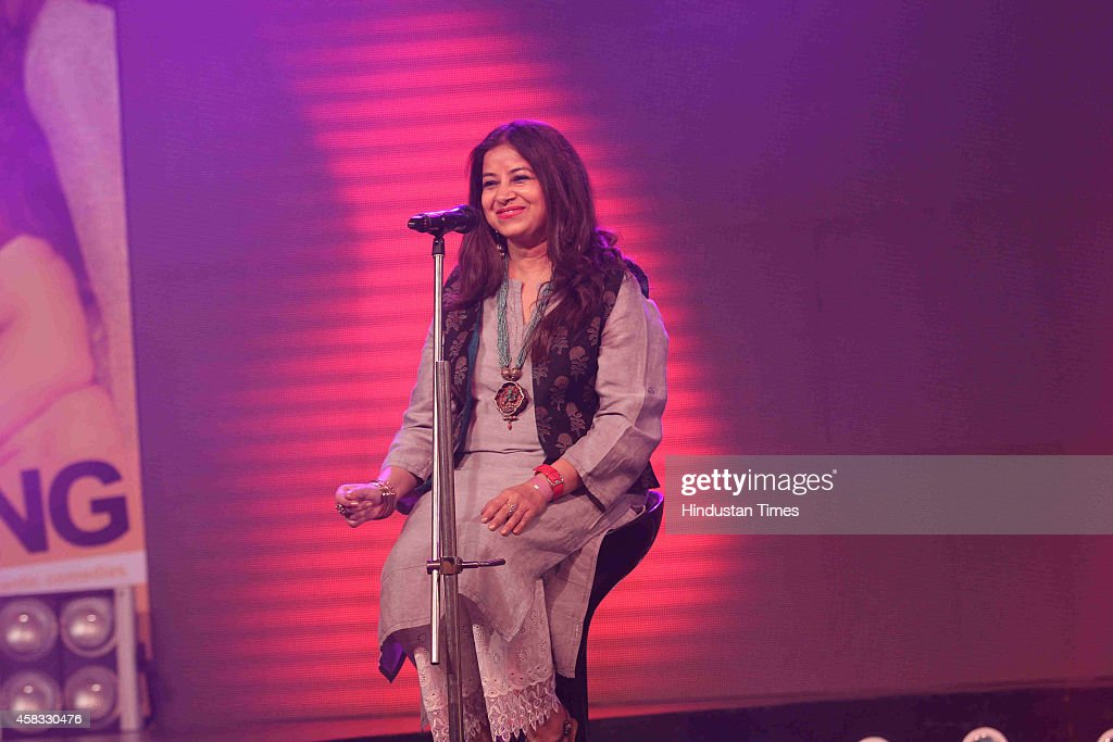 Indian playback singer Rekha Bhardwaj during the music launch of film Happy Ending on October 29 2014 in Mumbai India