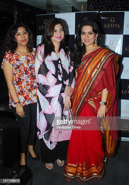 Indian playback singers Alka Yagnik during the launch of the new jewellery line by Shaina NC for Gehna jewellers at Gehna store Bandra on December 4...