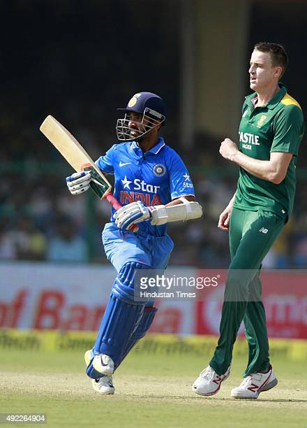 Indian player Ajinkya Rahane in action during the first One Day International match between India vs South Africa at Green Park Stadium, on October...