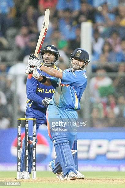 Indian player Gautam Gambhir plays a shot during the ICC Cricket World Cup 2011 Final match at The Wankhede Stadium in Mumbai on April 2 2011 India...