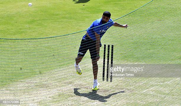 Indian player Harbhajan Singh during the practice session at Holkar Stadium ahead of the 2nd ODI against South Africa on October 13 2015 in Indore...