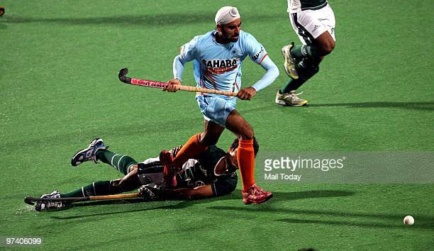 Indian player Sandeep Singh in action at the pool B match of India against Pakistan at the Hockey World Cup in New Delhi on February 28 2010