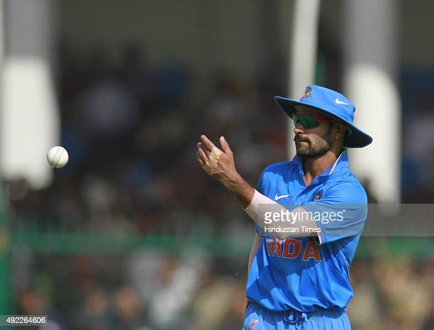 Indian player Shikhar Dhawan during the first One Day International match between India vs South Africa at Green Park Stadium, on October 11, 2015 in...
