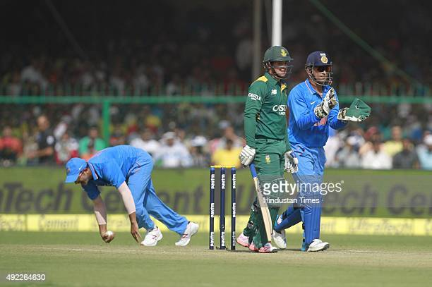 Indian player Suresh Raina taken catch of South Africa`s Quinton de Kock during the first One Day International match between India vs South Africa...