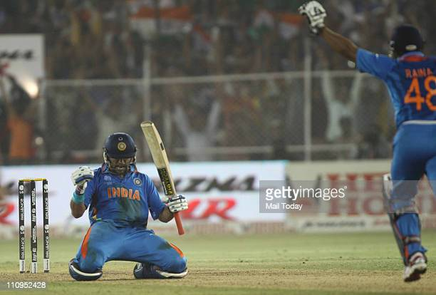 Indian player Yuvraj Singh celebrate India's win during the quarter-final match of the 2011 ICC World Cup match between India and Australia at The...
