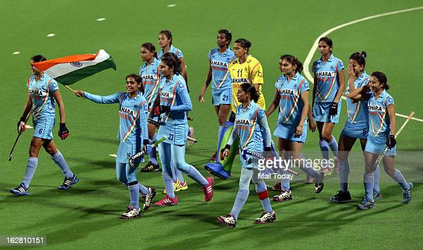 Indian players celebrate after beating Russia by 10 during their FIH Hockey World League Round 2 match at National stadium in New Delhi on Sunday