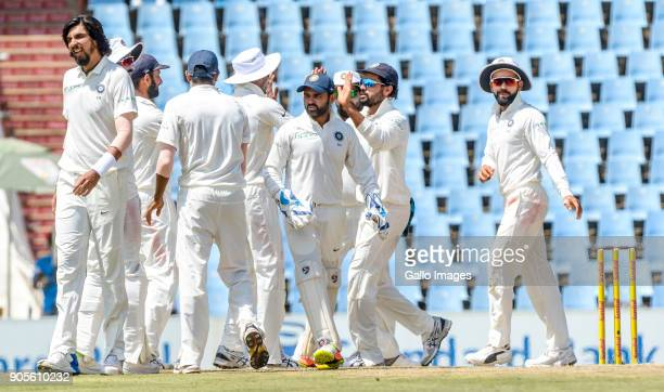 Indian players celebrate during day 4 of the 2nd Sunfoil Test match between South Africa and India at SuperSport Park on January 16 2018 in Pretoria...