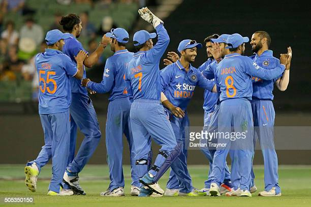 Indian players celebrate the wicket of Matthew Wade of Australia during game three of the One Day International Series between Australia and India at...