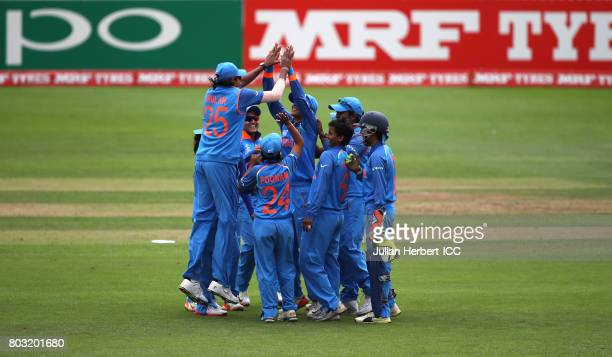 Indian players celebrate the wicket of Stafanie Taylor of The West Indies during The ICC Women's World Cup 2017 match betwen The West Indies and...