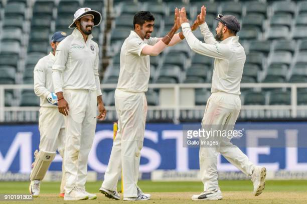 Indian players celebrate with Jasprit Bumrah during day 2 of the 3rd Sunfoil Test match between South Africa and India at Bidvest Wanderers Stadium...