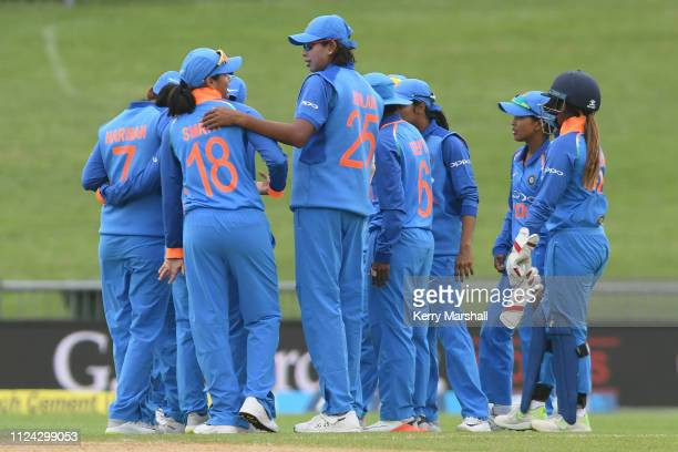 Indian players during game one of the One Day International Series between New Zealand White Ferns and India at McLean Park on January 24 2019 in...