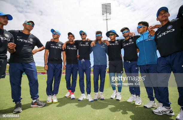 Indian players form a team huddle during the ICC U19 Cricket World Cup match between India and Australia at Bay Oval on January 14 2018 in Tauranga...