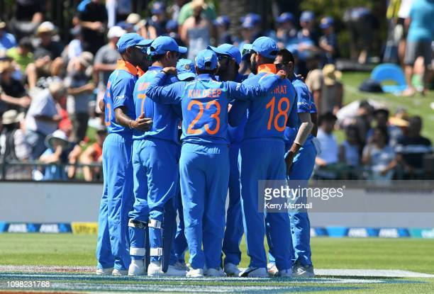 Indian players huddle before game one of the One Day International series between New Zealand and India at McLean Park on January 23 2019 in Napier...