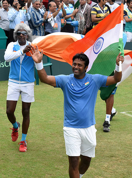 Indian players Leander Paes and Anand Amritraj celebrating the victory against Korea players Hong Chung and Yunseong chung during Doubles match at...