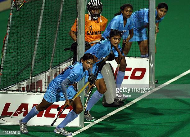 Indian players prepare for a corner during the match between Australia and India on day two of the International Superseries at Perth Hockey Stadium...