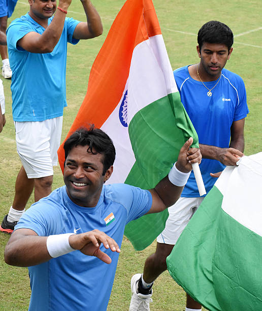Indian players Rohan Bopanna and Leander Paes celebrating the victory against Korea players Hong Chung and Yunseong chung during Doubles match at...