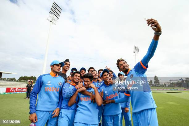 Indian players take a team selfie after winning the ICC U19 Cricket World Cup match between India and Papua New Guinea at Bay Oval on January 16 2018...