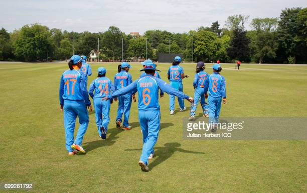 Indian players take to the field during The ICC Women's World Cup warm up match between India and Sri Lanka at Queens Park on June 21 2017 in...