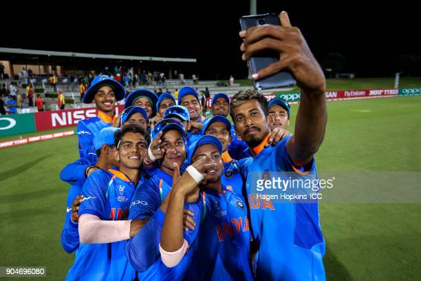 Indian players takes a team selfie during the ICC U19 Cricket World Cup match between India and Australia at Bay Oval on January 14 2018 in Tauranga...