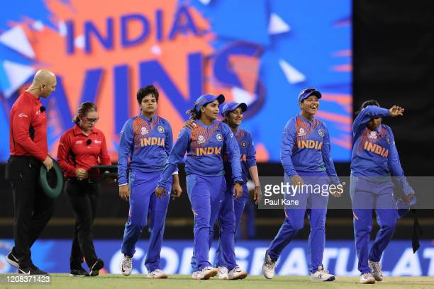 Indian players walk from the field after winning the ICC Women's T20 Cricket World Cup match between India and Bangladesh at WACA on February 24 2020...