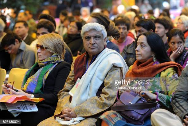 Indian poet Javed Akhtar listens to Carl Ernst during DSC Jaipur Literature Festival in Jaipur on January 24 2012 A planned video address by British...