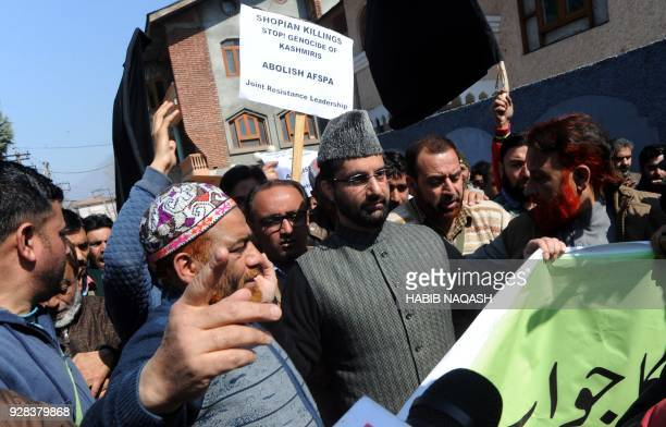 Indian police detain Chairman of Hurriyat forum Mirwaiz Umar Farooq who tried to defy his house detention to march towards Shopian on the call of...