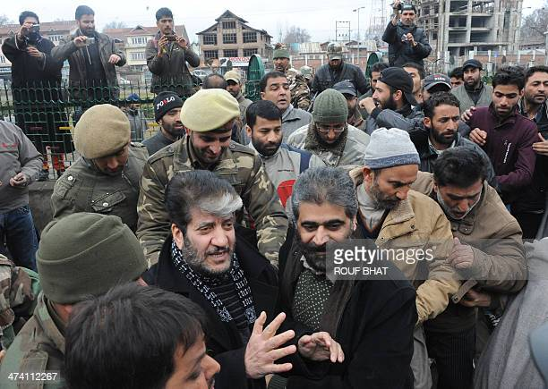 Indian police detain Kashmiri separatist leaders Shabir Ahmad Shah and Nayeem Khan during a sitin protest in Srinagar on February 22 demanding...