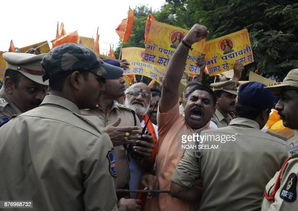 Indian police detained members of the Rajput community during a protest against forthcoming Bollywood film 'Padmavati' in Hyderabad on November 21...