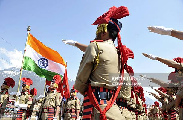Indian police from the Jammu and Kashmir Armed Police participate in a passing out parade at The Manigam Ganderbal Training Centre at Ganderbal some...