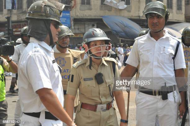 Indian Police officer IPS Aparajeeta Rai during Bharatiya Janta Party during Bharatya Janata Party proposed rally march to Kolkata Police Headquarter...