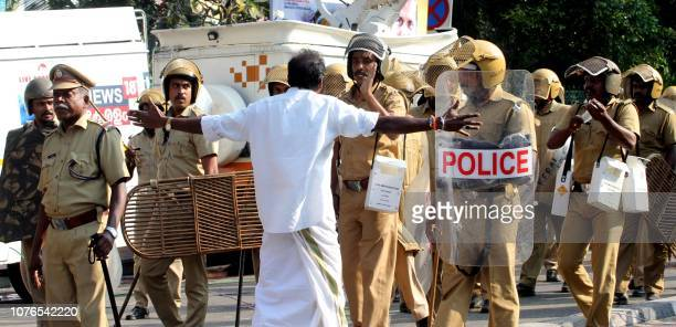 Indian Police patrol during clashes between Communist Party of India and Bhartiya Janta Party in front of the Kerala Government Secretariatat in...
