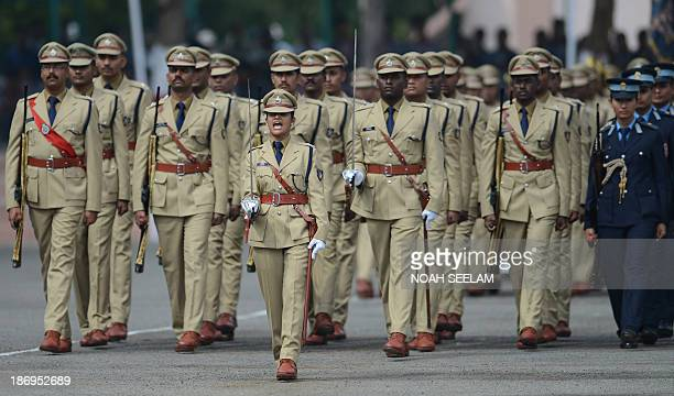 Indian Police Service probationer and parade commander Shalini Agnihotri leads the ceremonial march past the Indian President Pranab Mukherjee at the...
