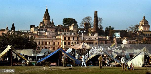 Indian Police set up tents to guard the northern city of Ayodhya March 13 2002 in India Indias Supreme Court barred Hindu nationalists from holding a...