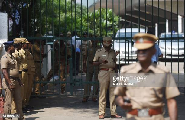 A Indian police stand outside a hospital where Tamil Nadu Chief Minister Jayalalitha Jayaram was being treated in Chennai on September 30 2016...