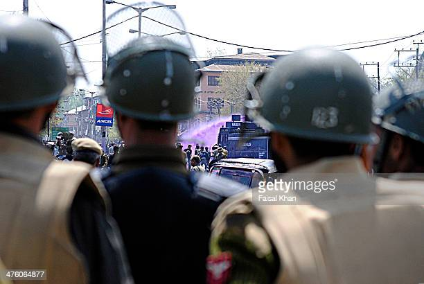 Indian police used water cannons and batons to disperse protesting employees asking for an increase in retirement age and the release of due arrears.