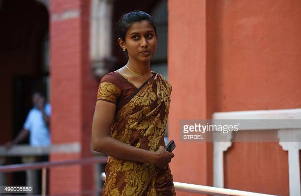 Indian policewoman K Prithika Yashini leaves after a judgement cleared legal hurdles allowing her to become India's first transgender Sub Inspector...