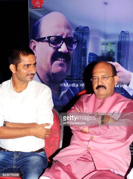 Indian Politician Amar Singh attends the debut of the upcoming Hindi film 'JD' written directed and produced by Shailendra Pandey in Mumbai on...