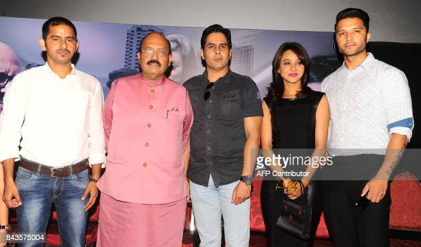Indian Politician Amar Singh Bollywood actors Aman Verma Vedita Pratap Singh and Lalit Bisht attend the song launch of upcoming Hindi film 'JD'...