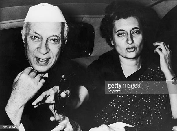 Indian politician Indira Gandhi with her father Indian Prime Minister Jawaharlal Nehru 1964