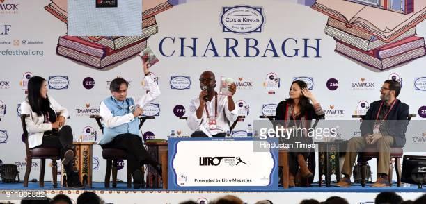 Indian politician Shashi Tharoor Korean American writer Suki Kim Tishani Doshi and Vivek Shanbhag in conversation with Eric Akoto during 'Litro World...