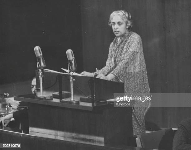 Indian politician Vijaya Lakshmi Pandit speaking at the General Assembly of the United Nations in New York, November 1946.