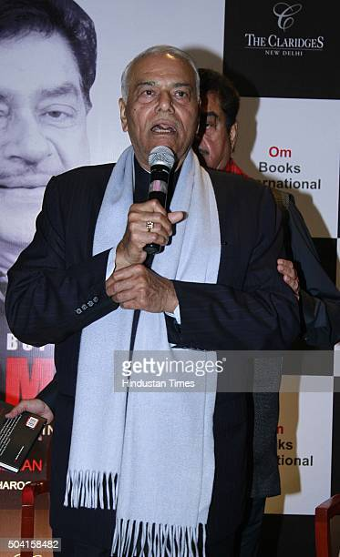 Indian politician Yashwant Sinha during the launch of Bollywood actorpolitician Shatrughan Sinha's book 'Anything But Khamosh' written by Bharathi S...