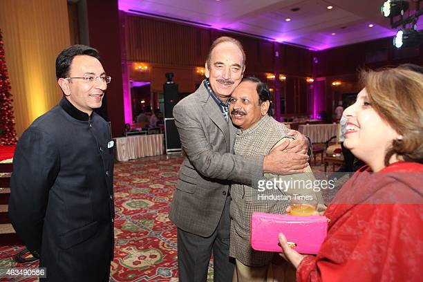 Indian politicians Jitin Prasada and Ghulam Nabi Azad during the wedding reception of Member of Parliament T Subbarami Reddy's grandson Rajiv Reddy...