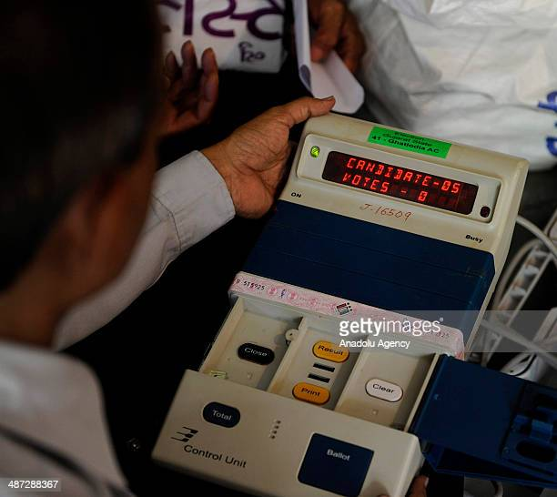 Indian polling officials test the Electronic Voting Machines before the seventh phase of the Indian Election in the Indian state of Gujarat Ahmedabad...
