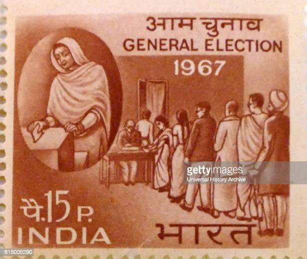 Indian postage stamp commemorating the 1967 general election