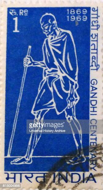 Indian postage stamp commemorating the centenary of Mahatma Gandhi the spiritual father of India's independence 1969