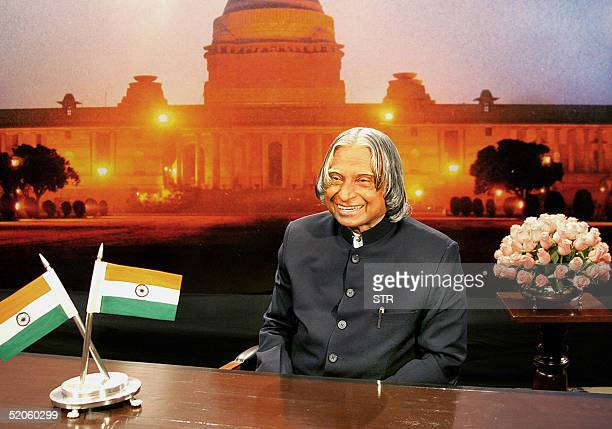 Indian President Abdul Kalam addresses the nation in New Delhi 25 January 2005 in a speech on the eve of the Republic Day holiday India's president...