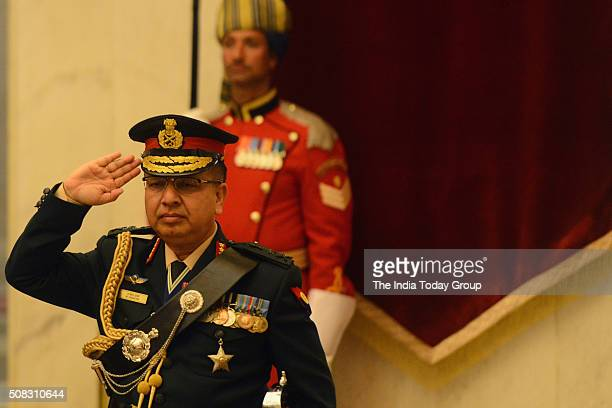 Indian President Pranab Mukherjee conferring the rank of Honorary General of the Indian Army to Nepali Army Chief of Army Staff General Rajendra...