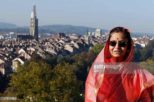 Indian president Pratibha Devisingh Patil poses for photographers during a walk through the 'Rosengarten' gardens above the old town of Bern during...